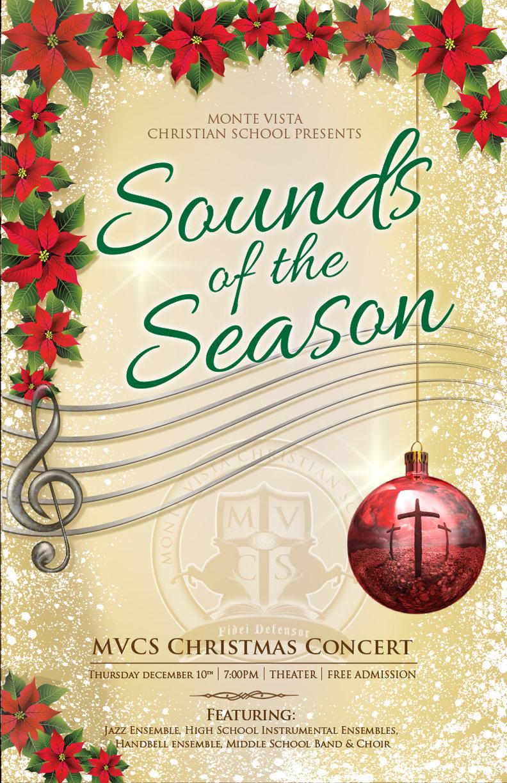 "Concert poster for Monte Vista Christian School's ""Sounds of th Season"" concert"