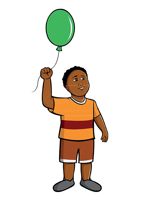 black boy green balloon