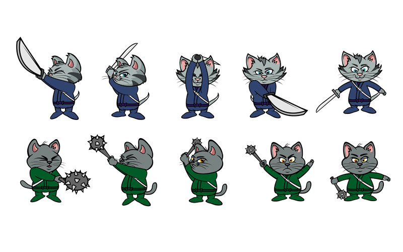 cartoon kitten ninjas sprite-board for social media game