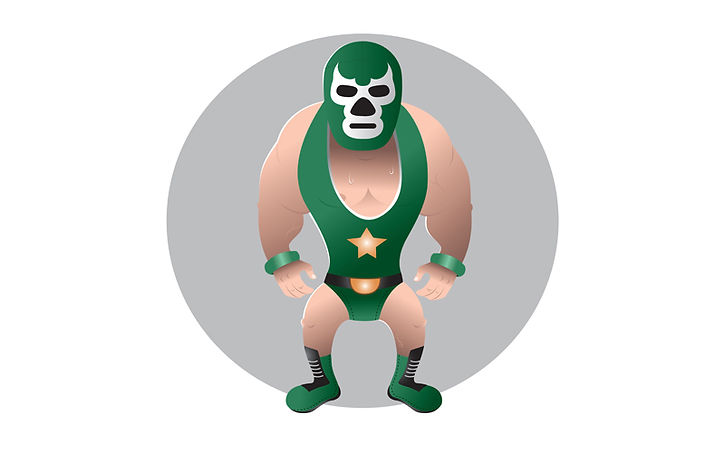 cartoon wrestler with mask sweating