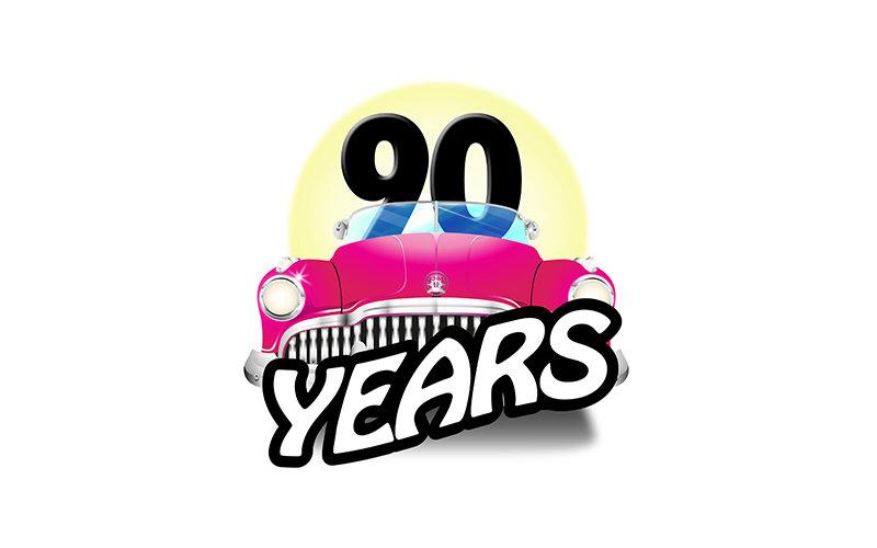 illustrated 90 year commemorative logo for private school