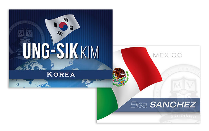name badges for school representatives - Korea and Mexico