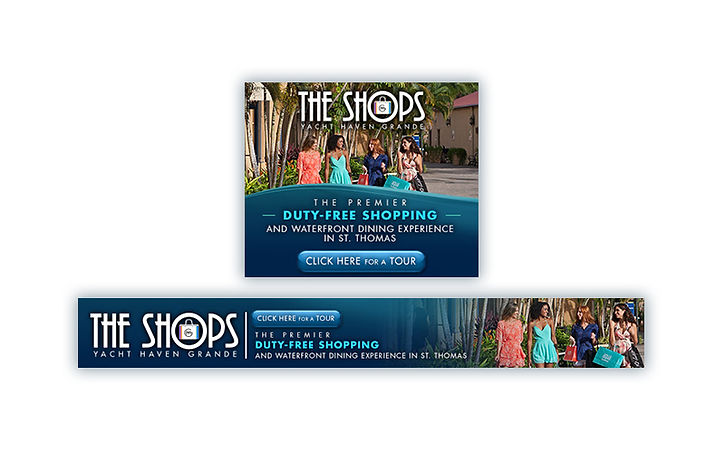 Online banners for THE SHOPS, high-end retail shops