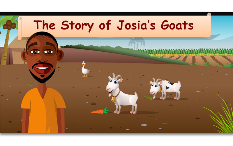 Illustrated Powerpoint lesson with goats for schoolchildren in Zambia