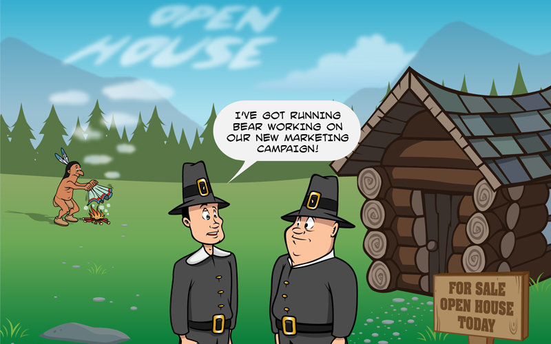 cartoon pilgrims standing in front of log cabin house with Indian in background