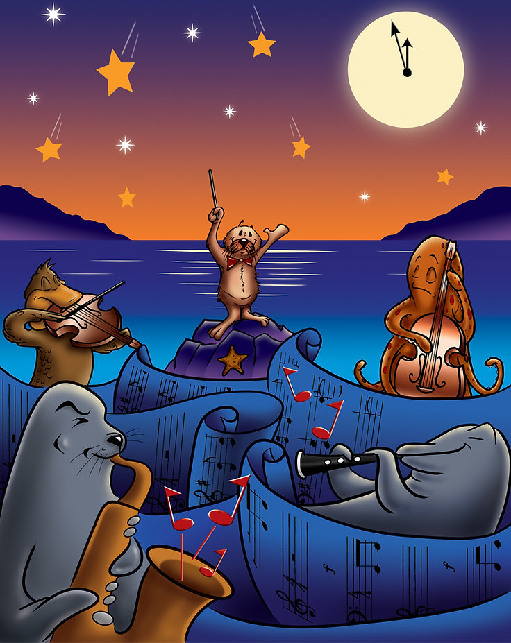 cartoon illustration of a group of marine animals-otter, pelican, seal, dolphin and octopus-playing music