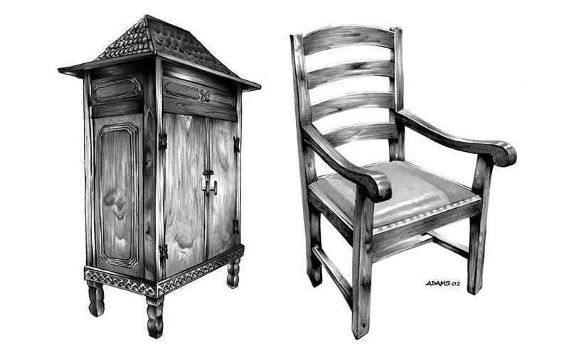 Marker renderings of a chair and dresser for antique furniture outlet