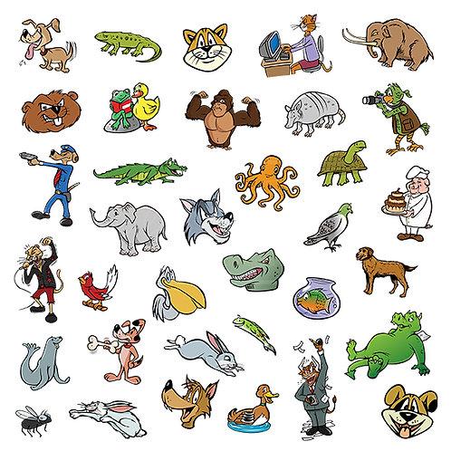 random cartoon animal collection
