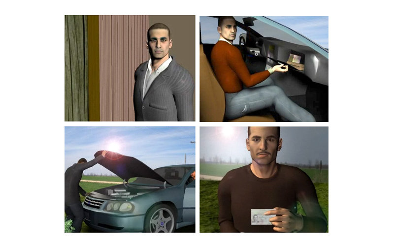3D renderings of Arabic man in car, opening a hood, presenting an ID