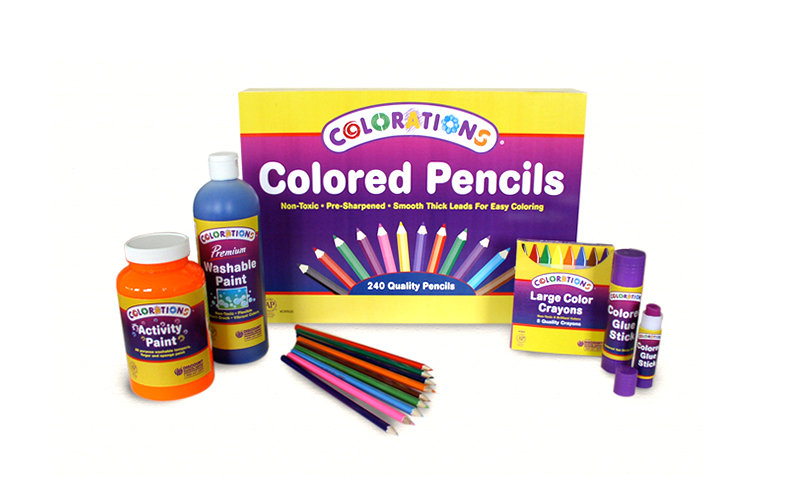 packaging design for colored pencils, paint, crayons, and gue stick for children's supplier