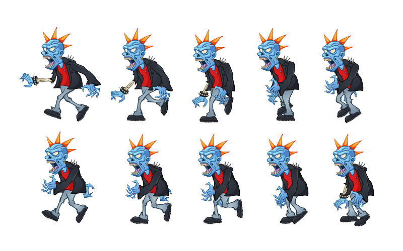 zombie walking spriteboard for game