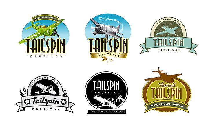 illustrated logo designs of planes in flight