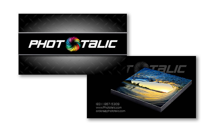Logo and business card design layout for metal print service
