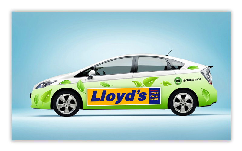 Vehicle wrap graphics for Lloyd's auto care shop