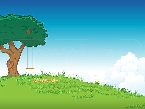 grassy lawn tree