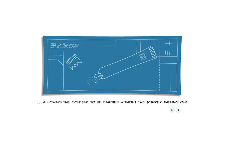 "cartoon blueprint step-by-step instructional animation for ""Stirpack"" website"