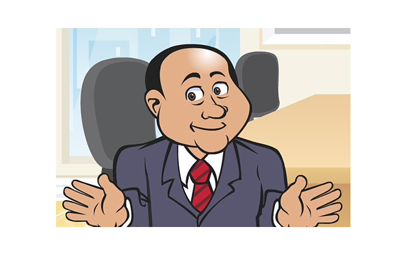 cartoon salesman animation for web and communications firm