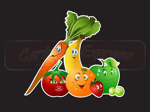 fruits vegetables cartoon collection