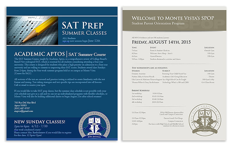 letterhead designs for SAT testing for Monte Vista Christian School