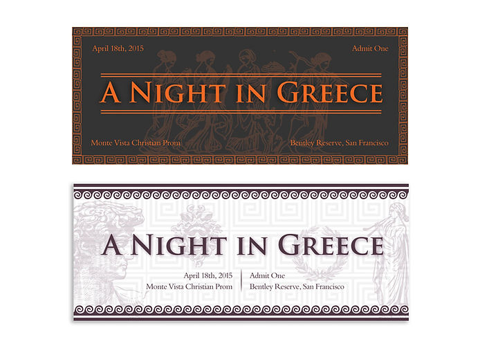 "ticket passes for Prom wit ""A Night in Greece"" theme"