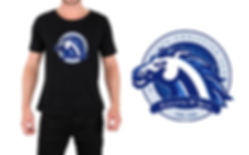 model wearing school mascot t-shirt design