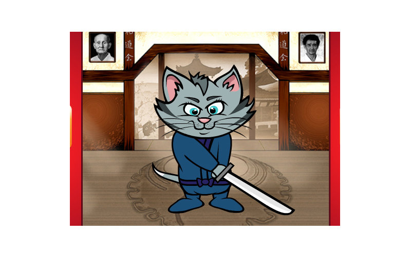 cartoon animation with kitten ninja for social media game