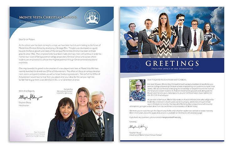 Letterhead & inside cover designs for Monte Vista Christian School