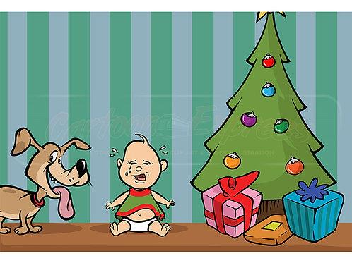 baby crying Holidays dog