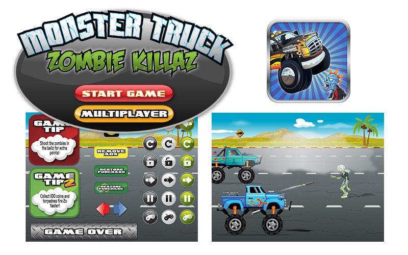 UI design & illustrations for online game Monster Truck Zombie Killaz.