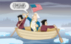 cartoon illustration of George Washinton crossing the Delaware river on boat in winter