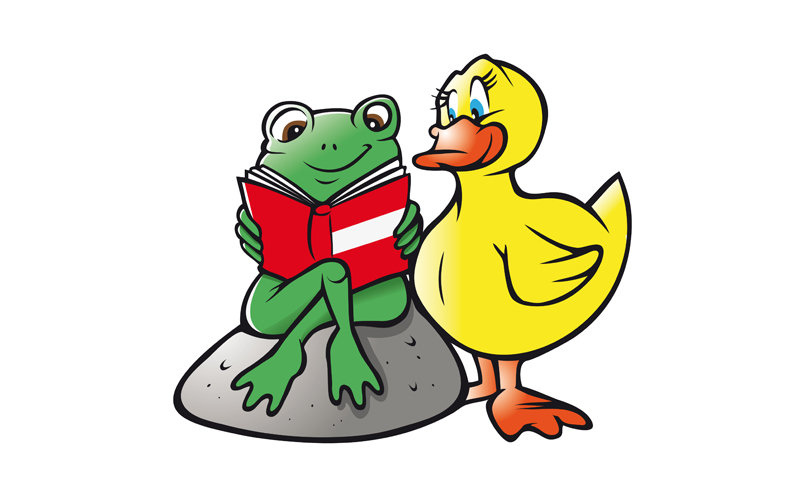 cartoon illustration of a cute frog and duck reading a book