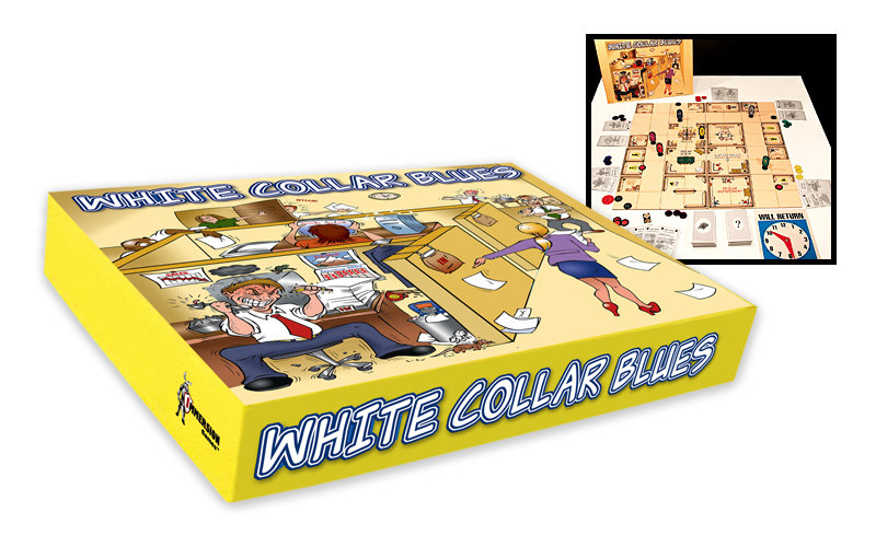 """cartoon satirical cover gameboard design for """"White Collar Blues"""" board game"""