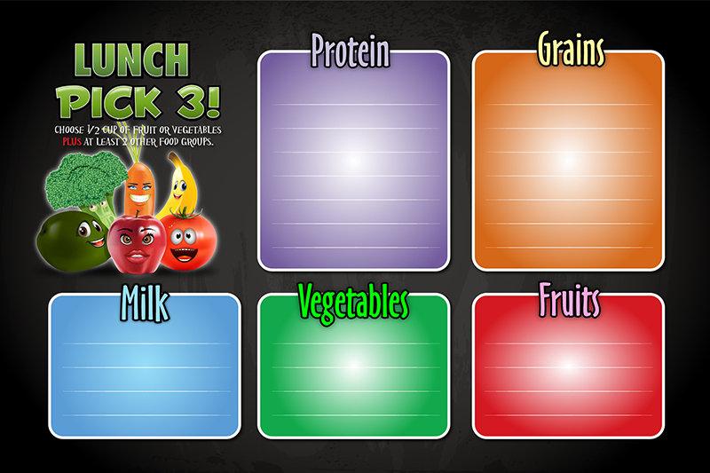 cartoon fruits and vegtables school menu board