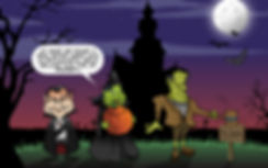 cartoon Dracula, witch an Frankenstein in front of haunted house