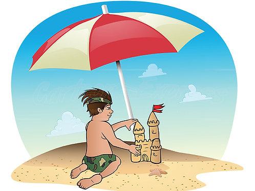 boy beach sandcastle