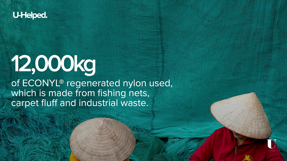 12,000kg of ECONYL regenerated nylon used, which is made from fishing nets, carpet fluff and industrial waste