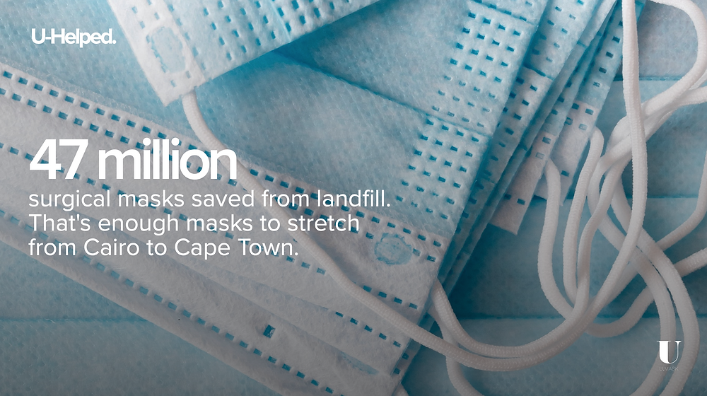 47 million surgical masks saved from landfill. That's enough masks to stretch from Cairo to Cape Town.