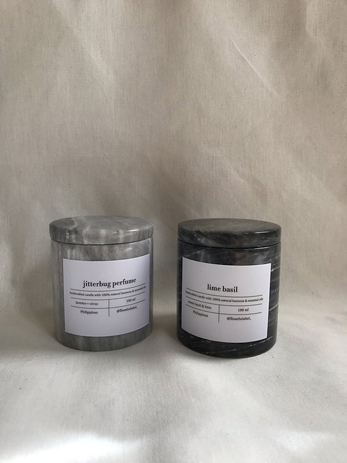 Scented Beeswax Candles in Marble 180ml
