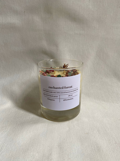 Enchanted Forest Beeswax Candle with Agate + Aventurine in Glass 180ml