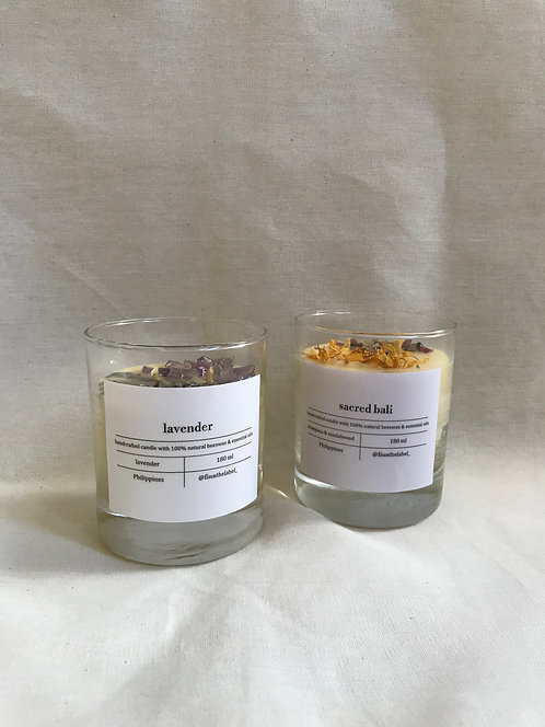 Scented Beeswax Candle with Crystals in Glass 180ml