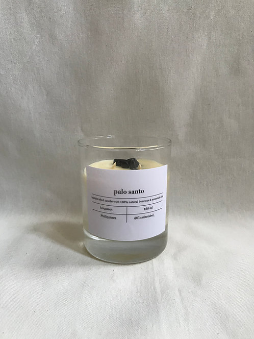 Palo Santo Beeswax Candle with Black Tourmaline Crystal in Glass 180ml