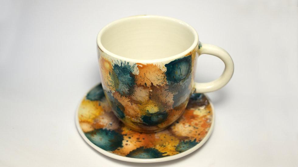 Mug con piattino Splash Ruggine Senape Pavone Marrone