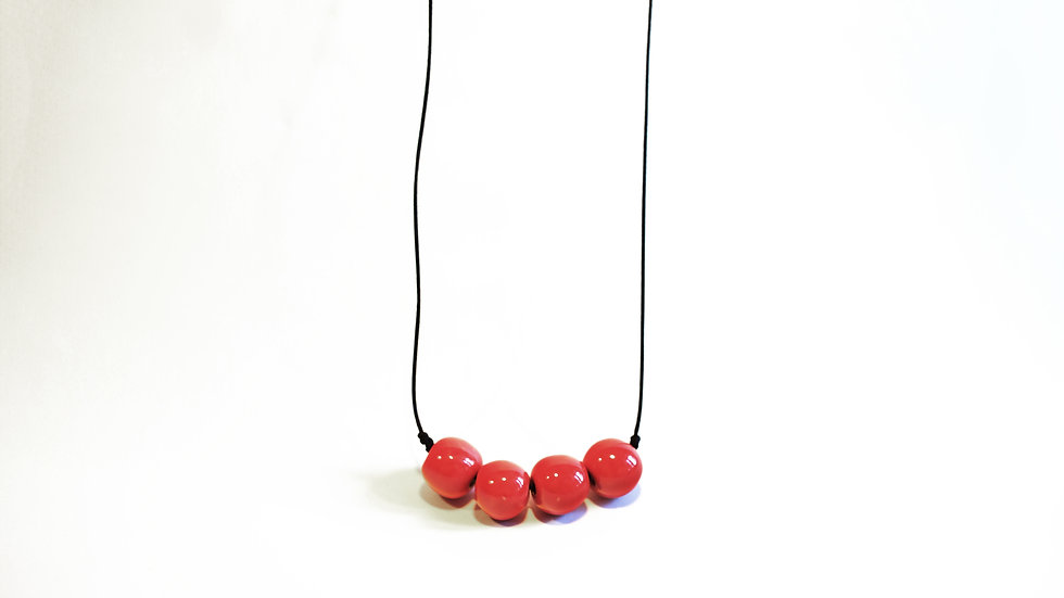 Collana 4 Big Nuts Rosso Calypso