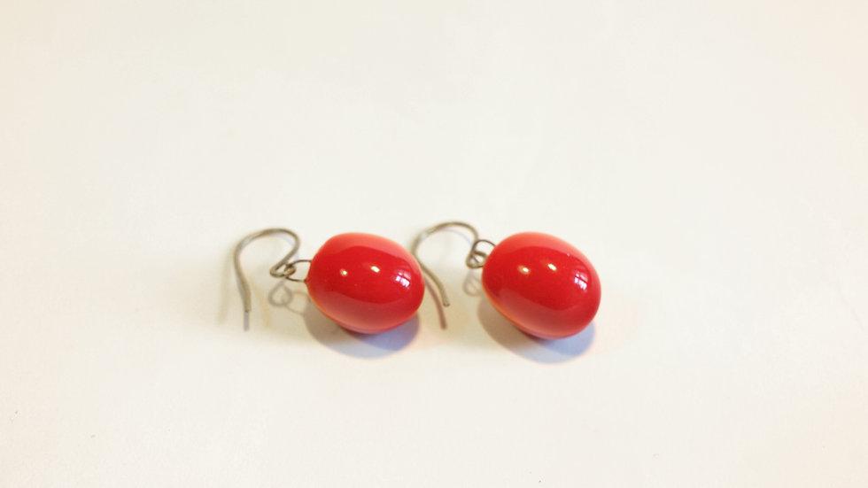 Orecchini pendenti Olive-Nuts Rosso Calypso