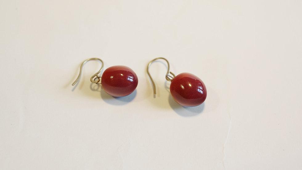 Orecchini pendenti Olive-Nuts Rosso Borgogna