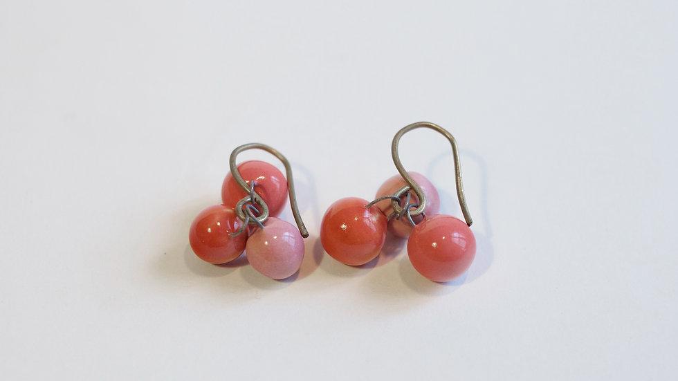 Orecchini a pendente 3 Nuts Rosso Corallo Rosa Corallo Rosa Ramalho