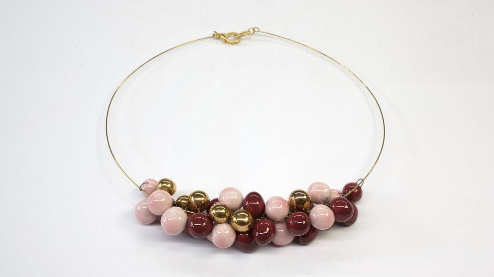 Collana Nuts Rosa, Borgogna, Oro