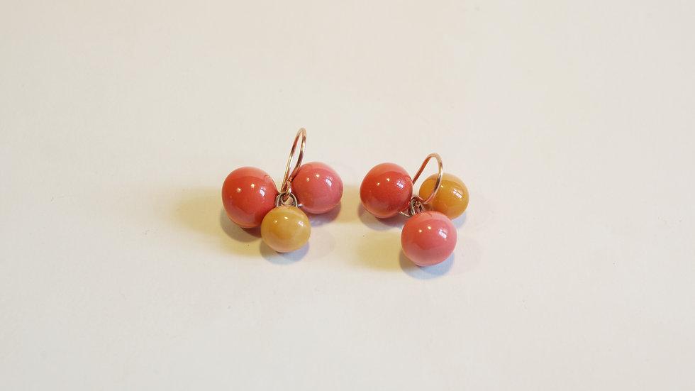 Orecchini a pendente 3 Nuts Arancione, Rosso Corallo e Rosa Corallo