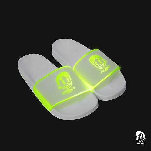 GB LOGO GLOW IN THE DARK SLIPPERS WHITE