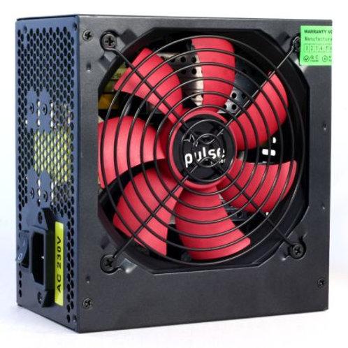 Pulse 500W PSU, ATX 12V, Active PFC, 2 x SATA, 120mm Silent Red Fan, Black Casi